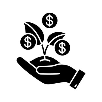 Seed money glyph icon