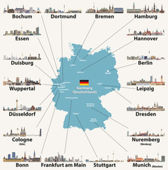Fototapete - Germany map with largest cities skylines icons. Vector illustration