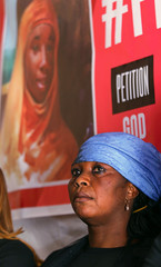 Rebecca Sharibu, mother of Leah, attends a news conference at the Pope John Paul center in Abuja