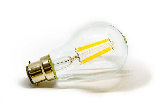 Light bulb pictured against a white background.