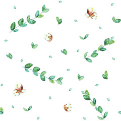 watercolor spring botanical sketch hand-drawn green leaves, branches and buds isolated on white background seamless pattern