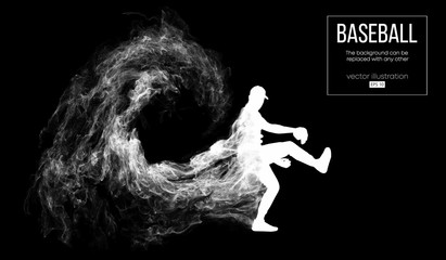 Abstract silhouette of a baseball player pitcher on dart black background from particles, smoke. Baseball player pitcher throws the ball . Background can be changed to any other. Vector illustration
