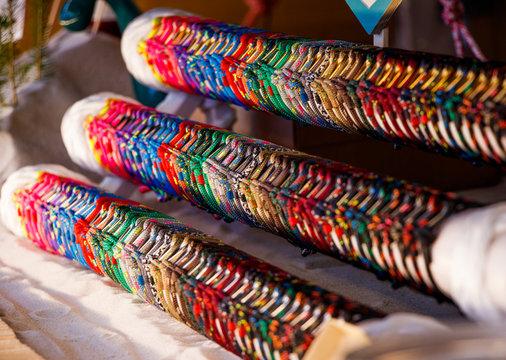 colorful marine bracelets on the Christmas market