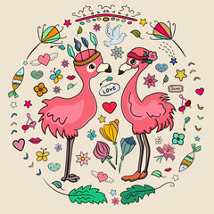 Love Flamingos. Summer collection. Many doodles on the summer theme. Set of vector images fish, flower, dove, green foliage, boho feathers, hearts. Couple birds. - Vector. Vector illustration.