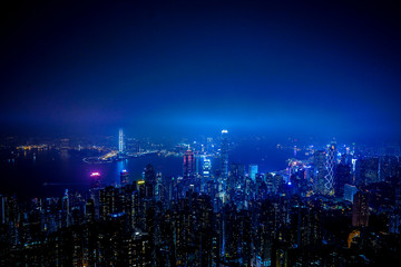 night city scape of Hongkong aerial view,high and top view.