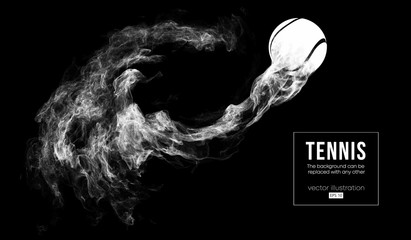 Abstract silhouette of a tennis ball isolated on dark, black background from particles dust, smoke, steam. Tennis ball is flys. Background can be changed to any other. Vector illustration