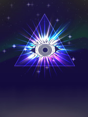 magic eye in the pyramid in bright rays of light against the starry sky. for fashion design, poster, ticket, flyer, cover art and more.