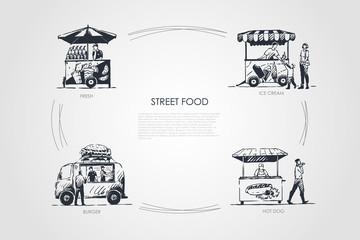 Street food - ice cream, hot dog, burger, fresh food vector concept set