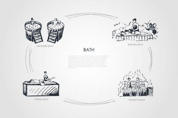 Bath - japanese bath, russian bath, finnish sauna, turkish bath vector concept set