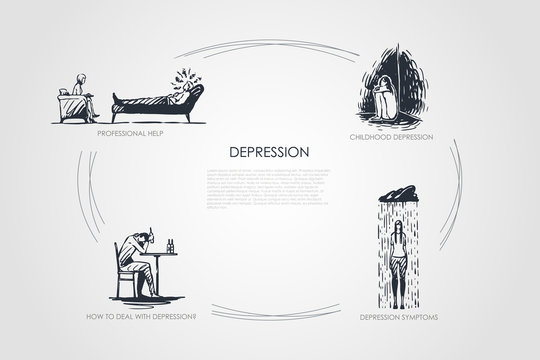 Depression - professional help, childhood depression, depression symptoms, how to deal with depression vector concept set