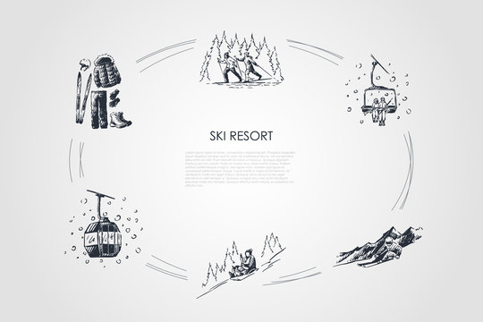 Ski resort - ski equipment and clothes, going by sledges with child, skiing in forest, ski lift and cabin vector concept set