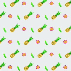 Seamless gray pattern with pineapples, passion fruits and cucumbers
