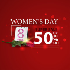 Women's day discount modern red banner with rose and calendar