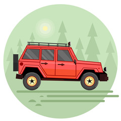 Flat design of off-road car in motion on a swamp and forest trip. Off-road vehicle isolated on summer forest background. Flat design illustration off-road trophy.