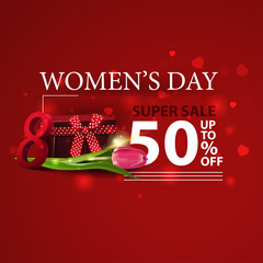 Women's day discount modern red banner with gift and Tulip