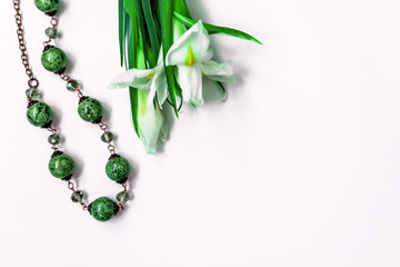 daffodils and green beads