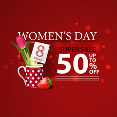 Women's day discount modern red banner with tulip in a mug