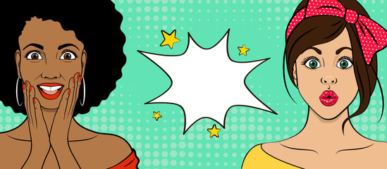 Template advertising poster in the style of pop art. Two surprised people. African woman and European girl. Vector illustration