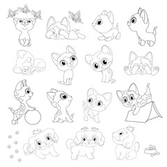 kittens puppies coloring book line black white cats dogs play ball butterflies