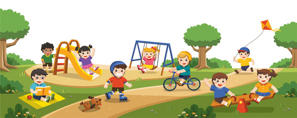 Happy excited kids having fun together on playground. Children play outside. Vector illustration.
