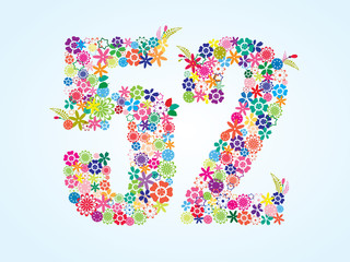 Vector Colorful Floral 52 Number Design isolated on white background. Floral Number Fifty Two Vector Typeface.