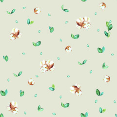 watercolor spring botanical sketch hand-drawn green leaves and buds isolated on light green background seamless pattern