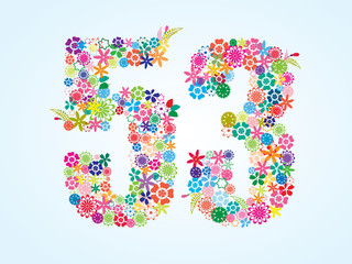 Vector Colorful Floral 53 Number Design isolated on white background. Floral Number Fifty Three Vector Typeface.