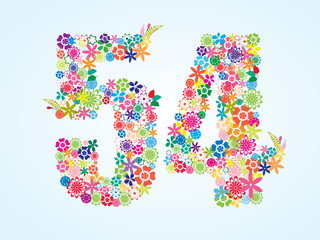 Vector Colorful Floral 54 Number Design isolated on white background. Floral Number Fifty Four Vector Typeface.