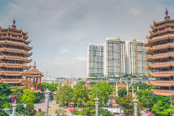 Ho Chi Minh City skyline with tall building in District 9, Vietnam