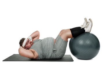 Funny overweight sports nerd working out isolated on white background