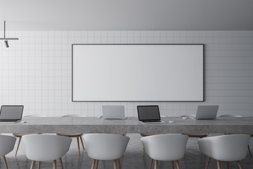 Modern meeting room with banner