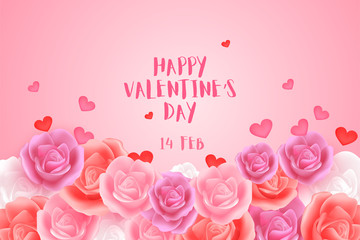 Valentine's Day with sweet heart shapes  on smooth pink background.Beautiful and lovely cards,banner for advertisement in Valentine's day concept.Creative Design in EPS10 Vector illustraion.