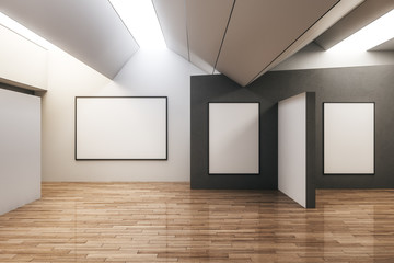 Modern gallery interior with poster