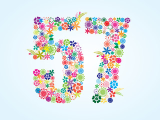 Vector Colorful Floral 57 Number Design isolated on white background. Floral Number Fifty Seven Vector Typeface.