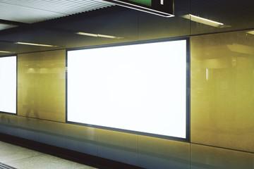 Empty white underground poster