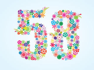 Vector Colorful Floral 58 Number Design isolated on white background. Floral Number Fifty Eight Vector Typeface.