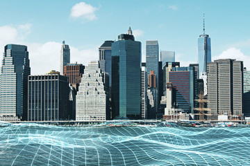 City background with grid