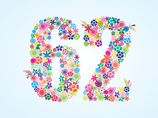 Vector Colorful Floral 62 Number Design isolated on white background. Floral Number Sixty Two Vector Typeface.