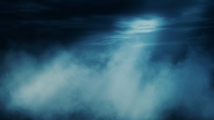 Background scene of empty street. Night view of the river, the night sky with clouds, a reflection of light on the asphalt. Smoke fog