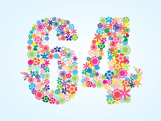 Vector Colorful Floral 64 Number Design isolated on white background. Floral Number Sixty Four Vector Typeface.
