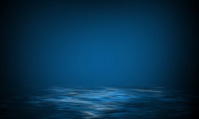Product showcase spotlight background. Clean photographer studio. Abstract blue background with rays of neon light, spotlight, reflection on water.