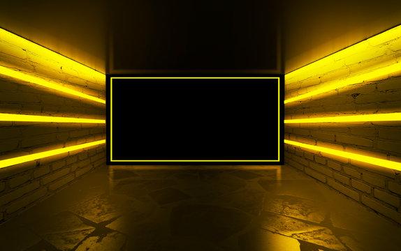 Background of empty room with brick walls, concrete floor, tiles. Yellow neon light smoke