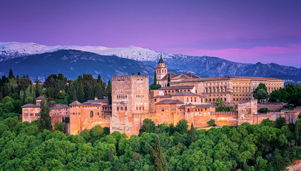 Famous Alhambra in sunset in Granada, Spain