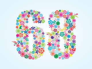 Vector Colorful Floral 68 Number Design isolated on white background. Floral Number Sixty Eight Vector Typeface.