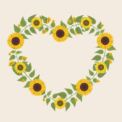 Floral greeting card and invitation template for wedding or birthday anniversary, Vector heart shape of text box label and frame, Yellow sunflower wreath ivy style with branch and leaves.