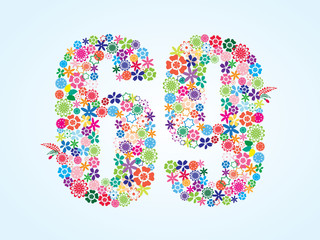 Vector Colorful Floral 69 Number Design isolated on white background. Floral Number Sixty Nine Vector Typeface.