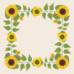 Floral greeting card and invitation template for wedding or birthday anniversary, Vector square shape of text box label and frame, Yellow sunflower wreath ivy style with branch and leaves.