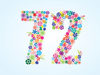 Vector Colorful Floral 72 Number Design isolated on white background. Floral Number Seventy Two Vector Typeface.