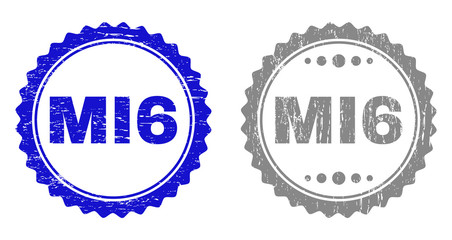 Grunge MI6 stamp seals isolated on a white background. Rosette seals with grunge texture in blue and gray colors. Vector rubber watermark of MI6 title inside round rosette.