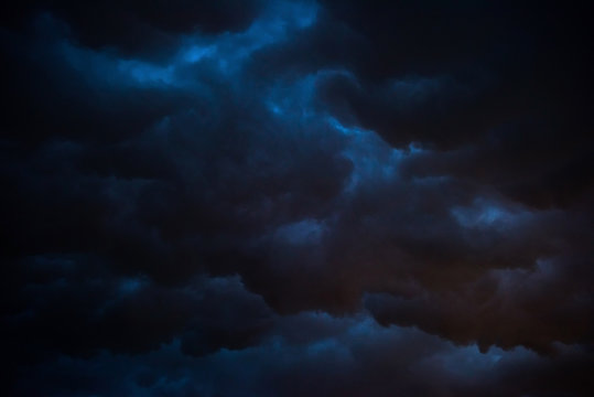 Black storm cloud at night, Dark sky and black clouds high contrast